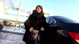 Katrin Porto - Car Flashing and Shopping Nude