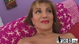 A very hot mature slut Sofian Soleil rubs her pussy then gets pounded hard