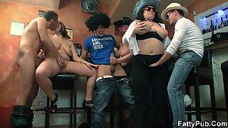 big bumpers plump girls gang group orgy