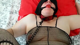 BBW ball gagged slave gets banged