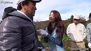 Nice Japanese girl Maki Hojo gives a blowjob and gets her slit creampied
