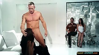 Asian sub is punished and sucks mature cock