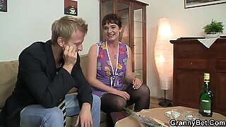 Her hairy old pussy is drilled by stiff young cock