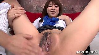 Miyu Aoi teasing her tight twat with a vibrator