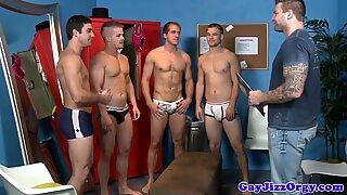 Cumshot loving studs in lockerroom ride cock