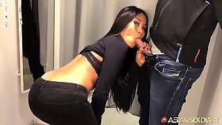 Super horny Asian star Susi sucking off white tourist in changing room and hotel
